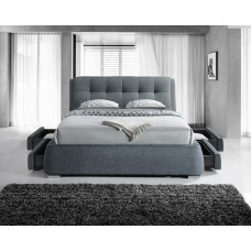 Dark Grey Four Side Drawer Fabric Bed - Double