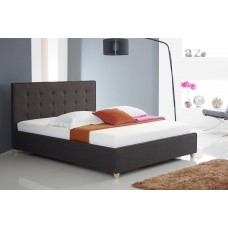 Button Fabric Bed Charcoal - Double