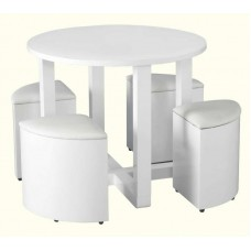 Charisma Stowaway Dining Set in White Gloss/White Faux Leather