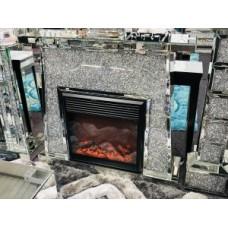 Silver Crushed Diamond Fireplace