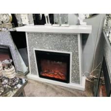 White Diamond Crush Fireplace