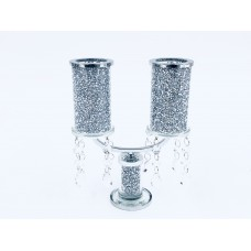 Crystal Crushed Double Candle Holder