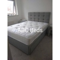 """Double Divan 24"""" Cubed Headboard with Buttons"""