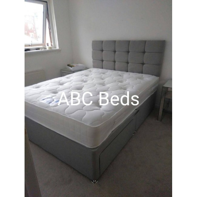 """Small Double Divan 24"""" Cubed Headboard with Buttons"""