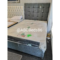 "Double Divan 54"" Cubed Headboard with Buttons"