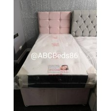 "Single Divan 24"" Cubed Headboard with Buttons"
