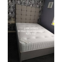 """Small Double Divan 36"""" Cubed Headboard with Buttons"""