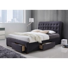 Dark Grey Four Drawer Fabric Bed - Double