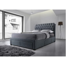 Dark Grey Front & Side Drawer Fabric Bed -Double