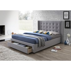 Grey Front Drawer Fabric Bed - King Size