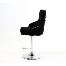 Regal Black Fabric Bar Stool