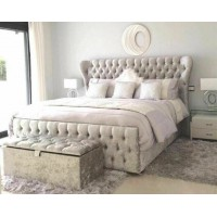 King Size Oxford Wingback Frame Bed with option to add foot end gas lift storage function