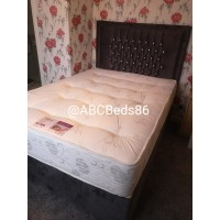 "Double Ottoman 54"" Rose Headboard with Diamonds"