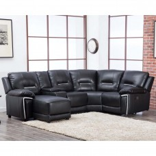 Sienna Black Reclining Leather corner with chaise