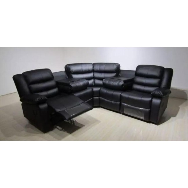 huge selection of dd6f3 4bdd1 Black Roma Leather Corner Sofa | Ayrshire Bed Company