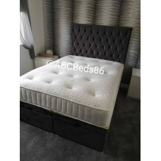 "Super King Divan 24"" Chesterfield Headboard with Buttons"