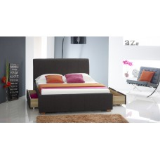 Charcoal Fabric Drawer Bed - Double