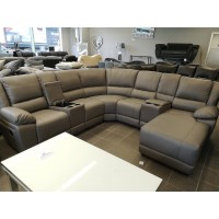 Madrid Light Grey Leather Recliner Sofa